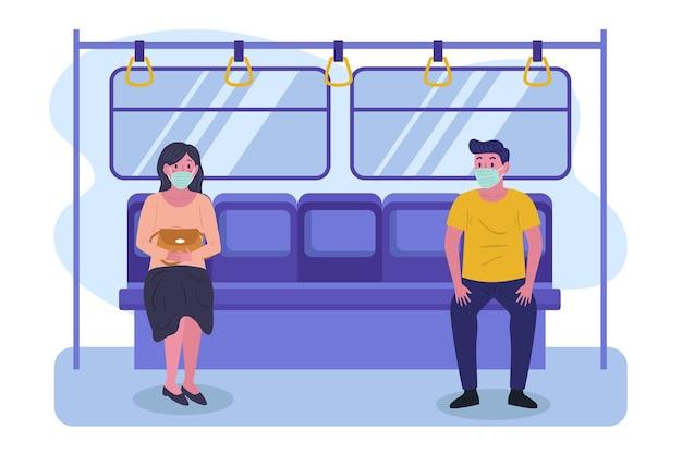 지하철에서 거리를 유지하는 사람들