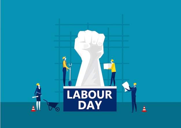 People labor day card on city construction background illustration