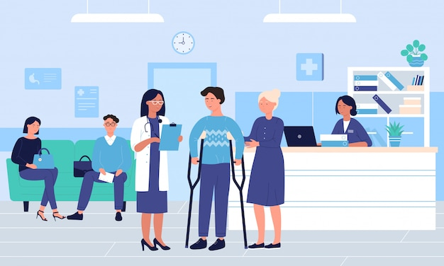 People in large intensive therapy hospital hall room   illustration.