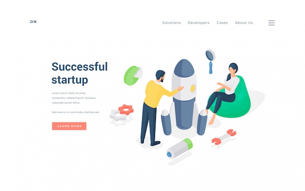 People launching successful startup project. isometric vector illustration