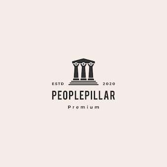 People law pillar logo hipster vintage retro  icon illustration