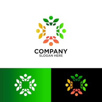 People and leaf for agriculture community logo design