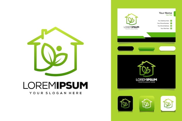 People leaf and house logo template business card