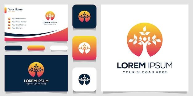 Дизайн логотипа листьев людей