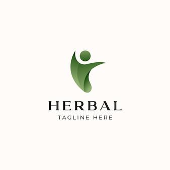 Шаблон логотипа листьев людей, изолированные на белом фоне