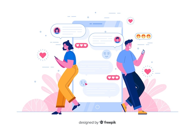 People leaning on phone while chatting concept illustration