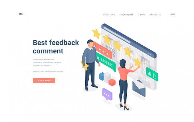 People leaving best feedback comment. isometric vector illustration
