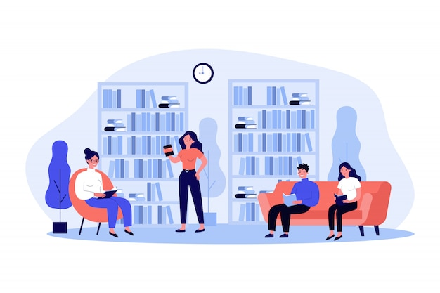 People in library   illustration