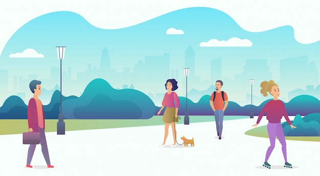 People life in modern eco city. people relaxing in nature in a beautiful urban park with skyscrapers on the background. trendy cartoon gradient color vector illustration.