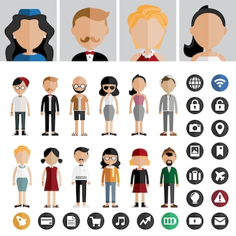 People lifestyle contemporary icon vector concept