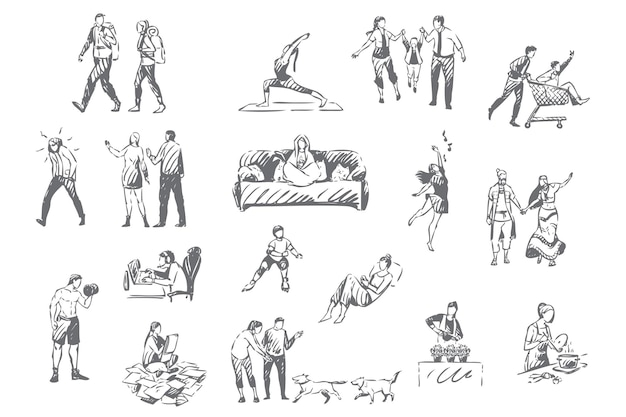People lifestyle introvert and extrovert pastime activities set illustration