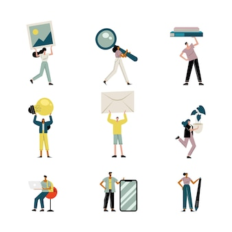 People lifting objects avatars characters  illustration