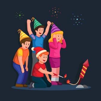 Люди зажигают фейерверк вместе с другом группы празднуют рождество и новый год с вектором партии