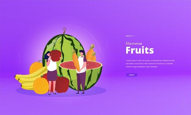 사람들은 평면 그림 개념에 건강한 과일을 먹고 싶어합니다.