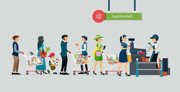 People line up to pay in supermarkets with gray backdrops Premium Vector