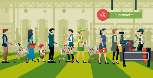 人々はスーパーマーケットで買い物をするためにお金を払うために並んでいます。