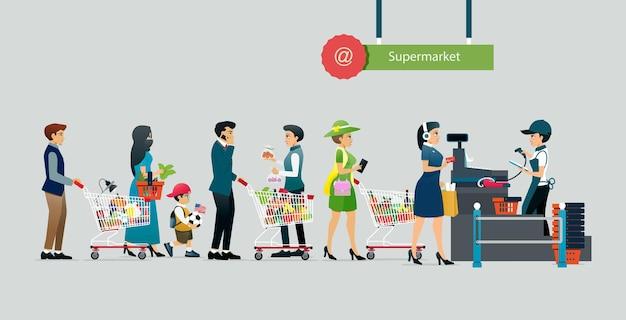 사람들은 회색 배경으로 슈퍼마켓에서 지불하기 위해 줄을 섭니다.