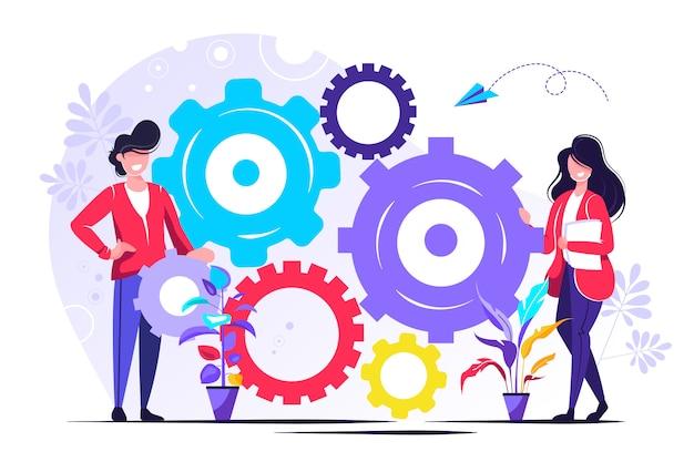 メカニズム、ビジネスメカニズムの人々のリンク