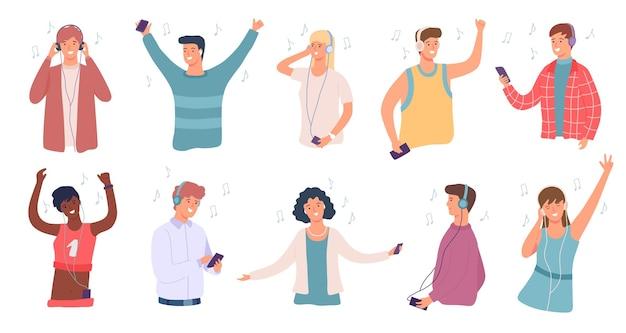 사람들은 음악을 듣습니다. 헤드폰 춤에 행복 한 남자와 여자입니다. 전화로 노래를 즐기는 학생. 십 대 문자 듣기 오디오 벡터 집합입니다. 오디오 플레이어 또는 스마트폰을 사용하는 청소년