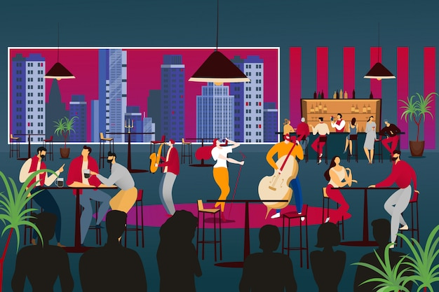 People listen to musician in modern  cafe  illustration. music band perform at restaurant, jazz music with lady singer