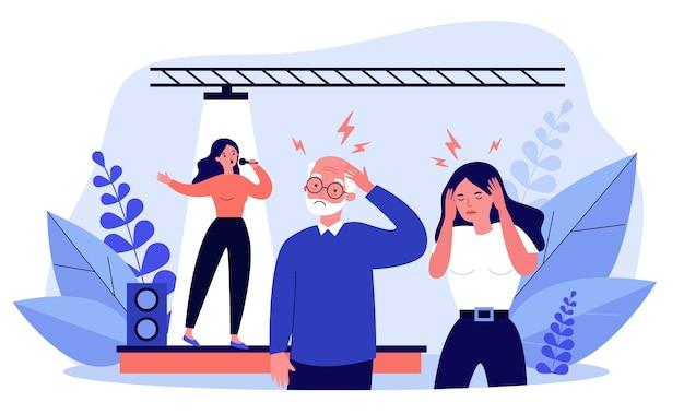 나쁜 가수를 듣고 두통을 가진 사람들. 무대, 노래, 소음 그림. 배너, 웹 사이트 또는 방문 웹 페이지에 대한 성능 및 음악 개념