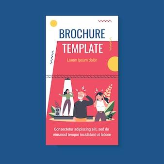People listening bad singer and having headache brochure template