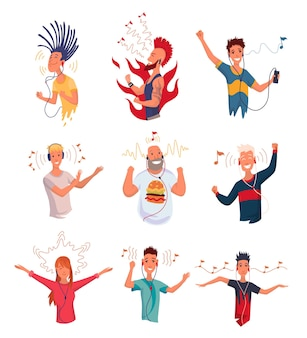 People listening to music. hand dancing cartoon young characters with smartphones and earphones. set of joyful people wearing and headphones. using audio player to enjoy sound.
