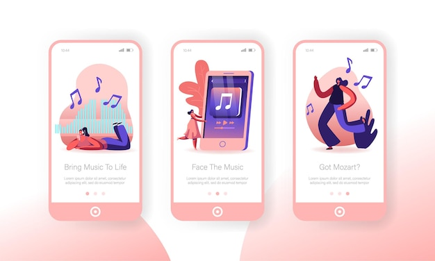 People listening music at smartphone mobile app page onboard screen set.