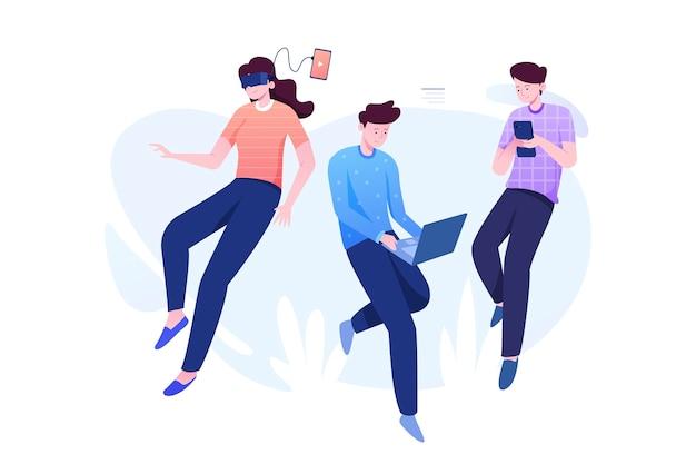 Люди, слушающие музыку и использующие мобильные устройства