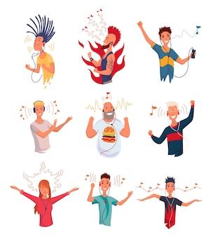 음악을 듣는 사람들. 스마트폰과 이어폰으로 손 춤 만화 젊은 캐릭터. 헤드폰을 끼고 즐거운 사람들의 집합입니다. 오디오 플레이어를 사용하여 사운드를 즐깁니다. 프리미엄 벡터