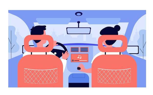 자동차로 여행하는 동안 음악을 듣는 사람들