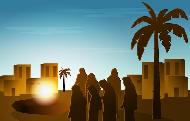Люди слушают проповедь пророка наби мухаммеда история ислама исламская иллюстрация