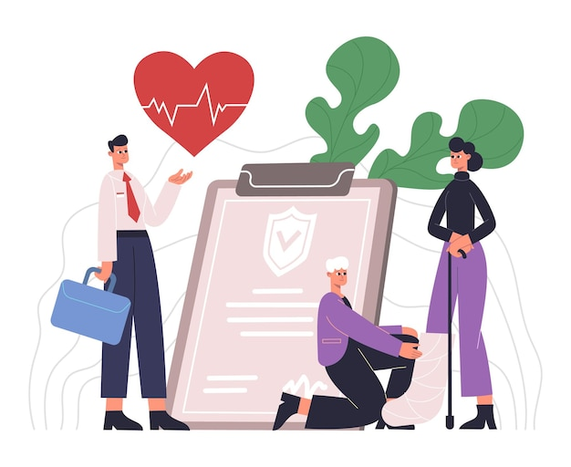 People live, healthcare, medical protecting service concept. health care insurance, people protecting health and life vector illustration. medical insurance service
