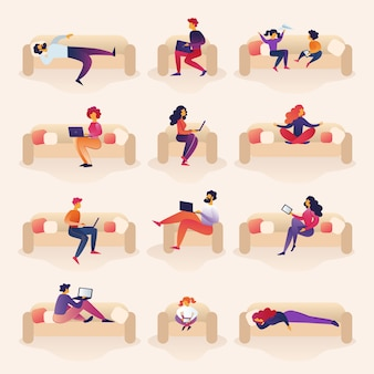 People live and work on sofa cartoon illustration.