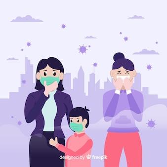 오염으로 가득 찬 도시에 사는 사람들