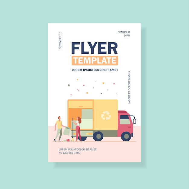 People loading garbage into truck flyer template