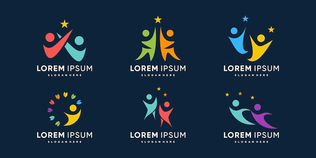 People logo collection with reach the dream concept premium vector
