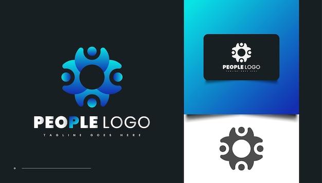 円形の概念を持つ青いグラデーションの人々のロゴデザイン。人、コミュニティ、家族、ネットワーク、クリエイティブハブ、グループ、ソーシャルコネクションのロゴまたはビジネスアイデンティティのアイコン