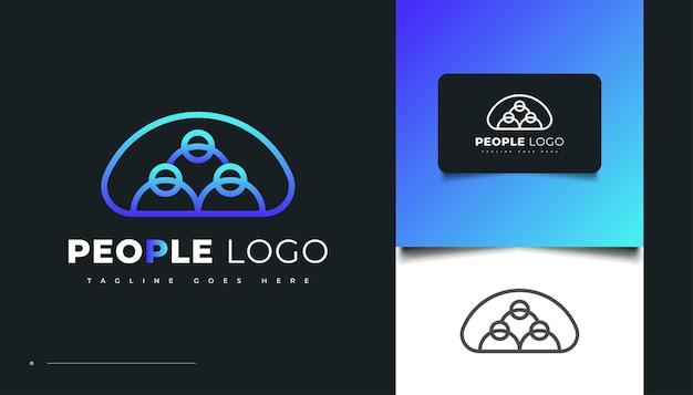 ブルーモダンスタイルの人々のロゴデザイン。人、コミュニティ、家族、ネットワーク、クリエイティブハブ、グループ、ソーシャルコネクションのロゴまたはビジネスアイデンティティのアイコン