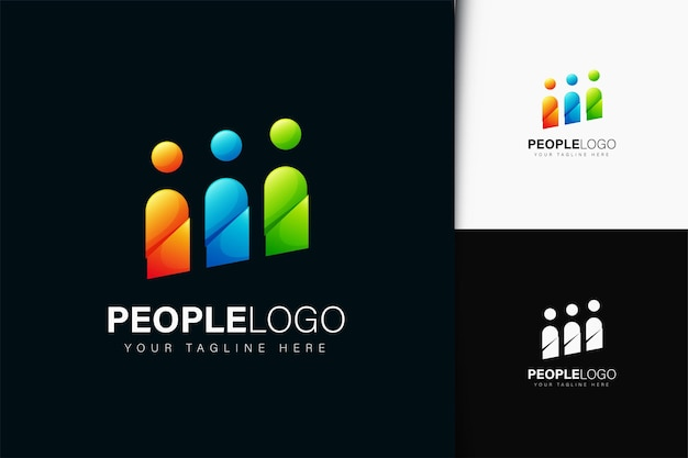 People logo design with gradient