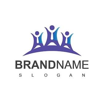 人々のロゴ、チームワークと社会のシンボル
