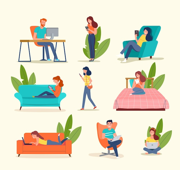 People look at gadgets. big set. vector illustration