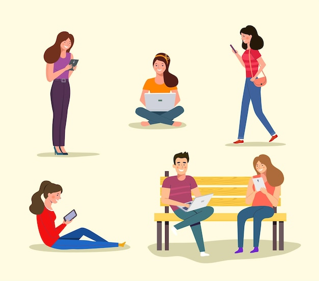 People look at gadgets. vector illustration