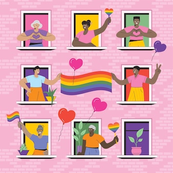 People look out of the window with a flag lgbtq pride at home
