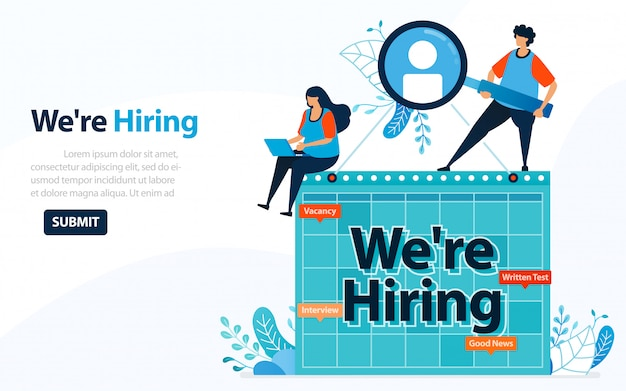 People looking for employees with words we're hiring, concept  illustration.