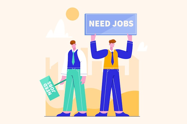 Люди ищут работу вакансии иллюстрация