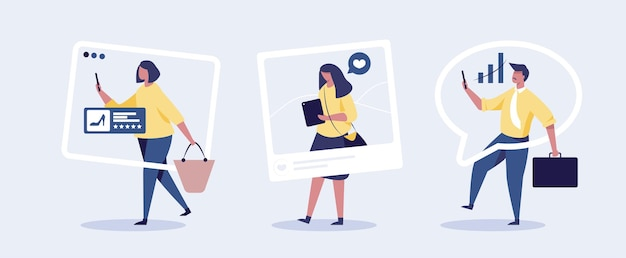 People looking at phone with social media concept illustration.