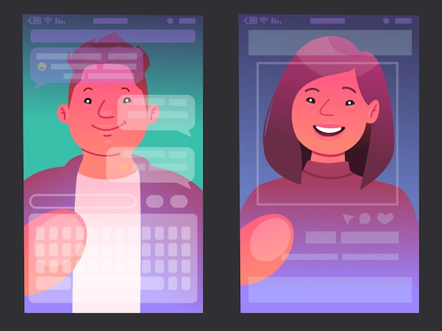 People looking at their smartphones. the view from the phone screen when a man and a woman use the gadget. vector illustration in a flat style