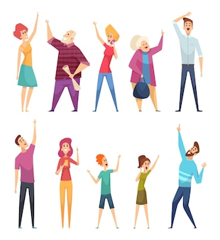 People looking up. crowd watching and pointing in sky vector cartoon persons. pointing up and watching, person looking to sky illustration