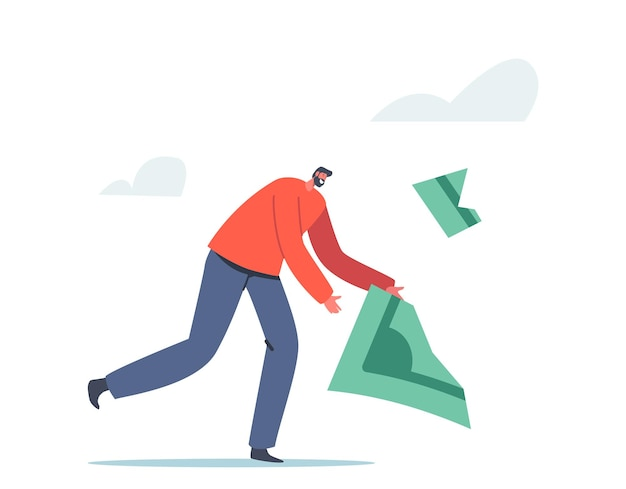 사람들은 돈 개념을 잃습니다. 금융 위기, 비즈니스 디플레이션 및 인플레이션에 대한 투자. 달러 지폐를 잡으려는 남성 캐릭터가 크럼블에서 떨어져 나갑니다. 만화 벡터 일러스트 레이 션